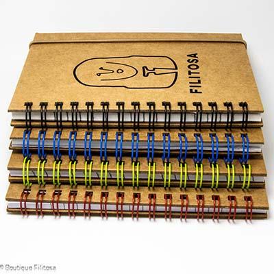 Ensemble des carnets de notes à spirales colorées Filitosa XIII couverture